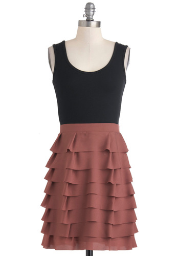 Tier-ly Beloved Dress - Mid-length, Jersey, Pink, Black, Exposed zipper, Tiered, Party, Sleeveless, Twofer, Scoop