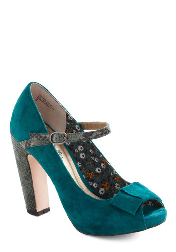 Fifth Wheel Heels by Seychelles - Blue, Grey, Bows, Mary Jane, Peep Toe, High, Leather, Animal Print, Party, Cocktail, Suede, Platform, Special Occasion, Pinup