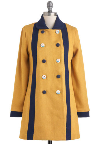 Sun and Sky Salutation Coat - Yellow, Buttons, Pockets, Casual, Vintage Inspired, Long Sleeve, Fall, Winter, Cotton, 3, Double Breasted, International Designer, Nautical, Blue, Long