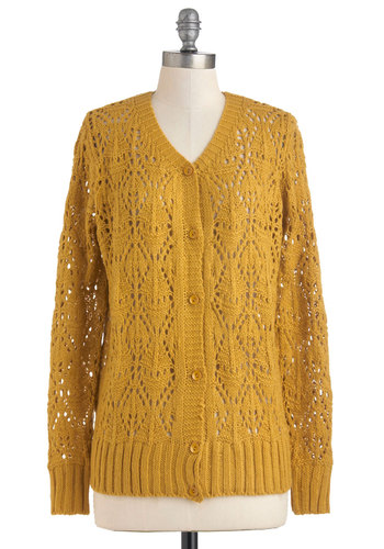 Those Autumn Evenings Cardigan - Yellow, Solid, Buttons, Knitted, Casual, Vintage Inspired, Long Sleeve, Fall, Winter, Mid-length, 90s, Sheer, Button Down