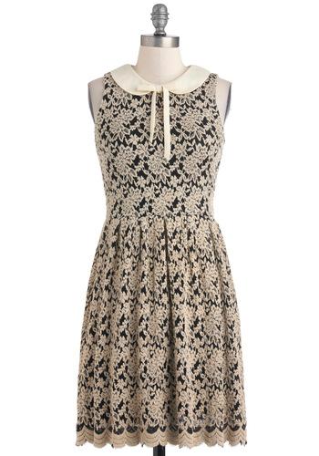 Afternoon Getaway Dress - Mid-length, Cream, Black, Lace, Peter Pan Collar, Party, French / Victorian, A-line, Sleeveless, Fall, Tie Neck, Collared, Top Rated