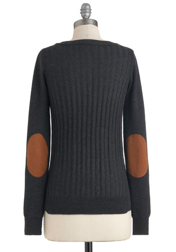 Late Night at the Library Sweater - Short, Black, Tan / Cream, Patch, Long Sleeve, Scholastic/Collegiate, Fall, Winter