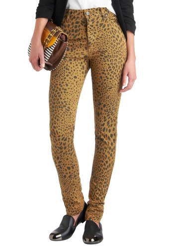 "Clothing Cat-alyst Jeans (32"") - Black, Animal Print, Pockets, Skinny, 90s, Urban, High Waist, Denim, Tan"