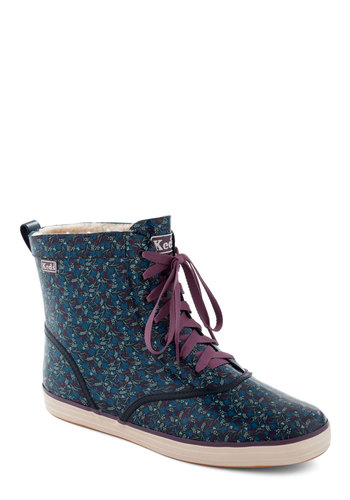 Rain It In Boot by Keds - Blue, Floral, Flat, Lace Up, Purple, Casual, Fall, Holiday Sale