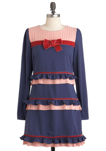 Strike Up the Bandstand Dress by Di K Si - Blue, Red, Pink, Stripes, Bows, Ruffles, Casual, Vintage Inspired, A-line, Long Sleeve, Mid-length, Fall, 20s, 30s, Statement, International Designer, Tiered
