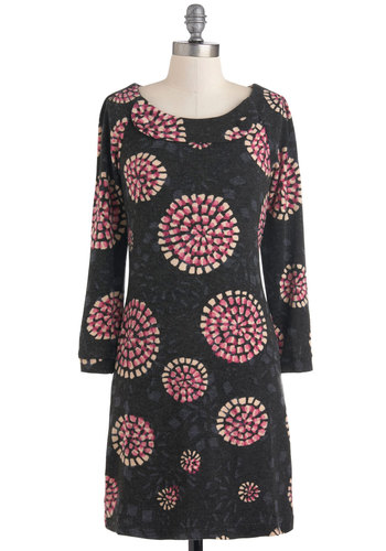 Wine and Dynamic Dress - Mid-length, Grey, Blue, Pink, Tan / Cream, Print, Casual, Shift, Long Sleeve, Fall