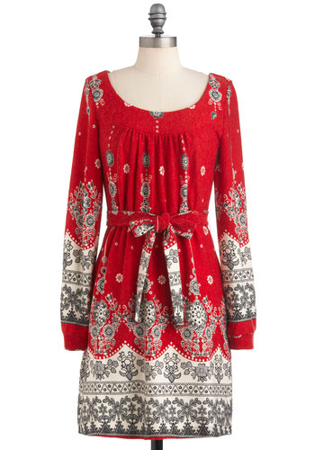Cinnamon Sensation Dress - Mid-length, Red, Grey, White, Print, Belted, Casual, Shift, Long Sleeve, Sweater Dress