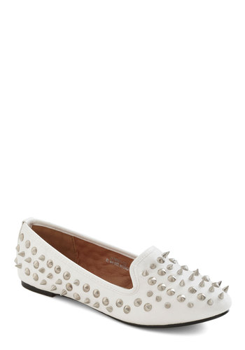 I See Your Point Flat in White - White, Studs, Flat, Faux Leather, Silver, Solid, Casual, Menswear Inspired