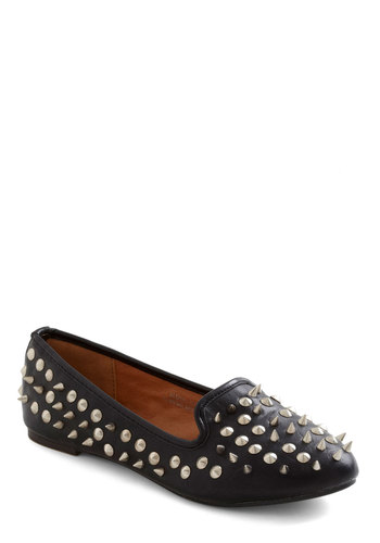 I See Your Point Flat in Black - Black, Studs, Flat, Silver, Solid, Casual, Faux Leather, Menswear Inspired