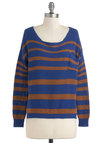 Sand Meets Sky Sweater - Brown, Stripes, Pockets, Casual, Long Sleeve, Cotton, Short, Blue, Knitted, Fall