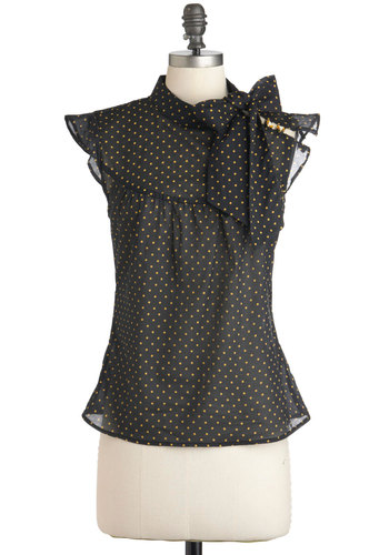 Pinpoint of View Top - Black, Polka Dots, Buttons, Tie Neck, Cotton, Yellow, Work, Sleeveless, Mid-length