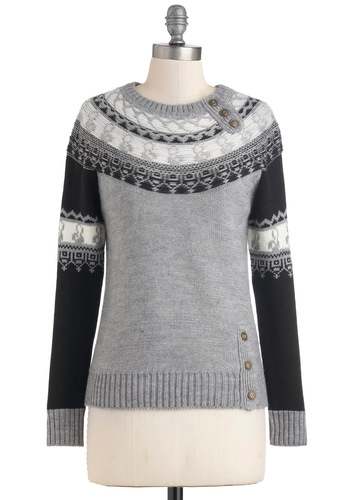 Purl of Wisdom Sweater - Mid-length, Grey, Black, Buttons, Long Sleeve, Print, Casual, Fall, Winter