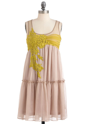 Everything Will Be Applique Dress by Ryu - Pink, Green, Flower, Empire, Sleeveless, Mid-length, Yellow, Pastel, Boho, Sheer, Daytime Party