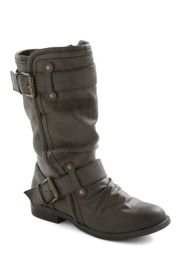 Speed Rumple Boots in Charcoal - Grey, Solid, Buckles, Low, Faux Leather, Casual, Fall