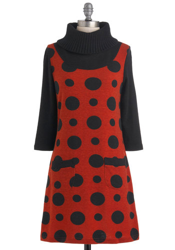 Luck Be a Ladybug Dress - Short, Orange, Polka Dots, Pockets, Casual, Sweater Dress, 3/4 Sleeve, Fall, Black, Scholastic/Collegiate, Mod, Winter