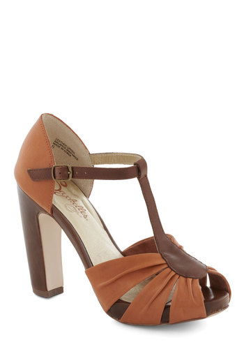 Two Birds Heel by Seychelles - Orange, Brown, High, Peep Toe, Casual, Vintage Inspired, Strappy