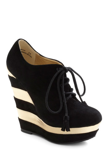 The Fame Game Wedge - Black, Gold, Stripes, Tassels, High, Wedge, Lace Up, Statement, Urban, Holiday Party, Platform