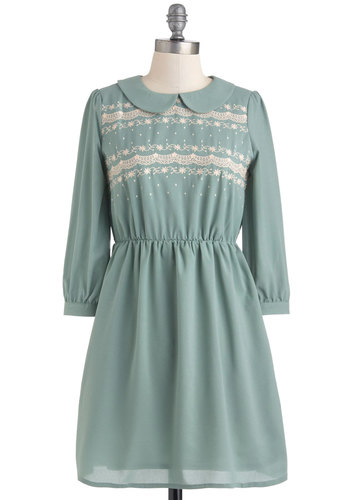 Brunch Beautiful Dress - Green, Tan / Cream, Print, Peter Pan Collar, Casual, A-line, Long Sleeve, Fall, Chiffon, Mid-length, Vintage Inspired, 30s, Collared