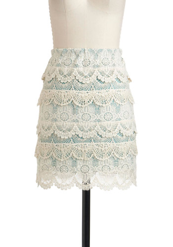 To Tier You the Truth Skirt - Cream, Green, Lace, Pencil, Short, Cotton, Party, Vintage Inspired, Daytime Party