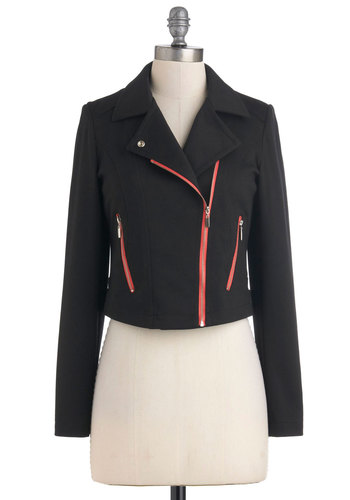 Anise Attitude Jacket - Red, Pockets, Long Sleeve, Black, 90s, Fall, Girls Night Out, Short