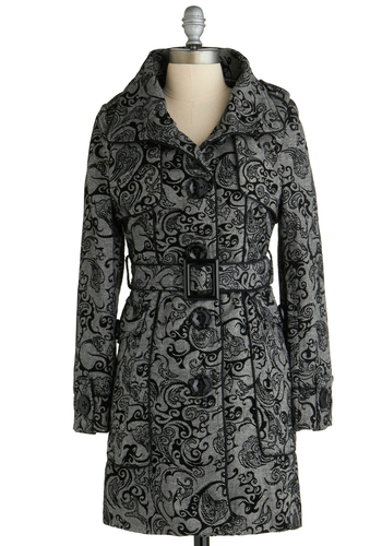 Sample 2224 - Grey, Black, Floral, Buttons, Belted, Long Sleeve