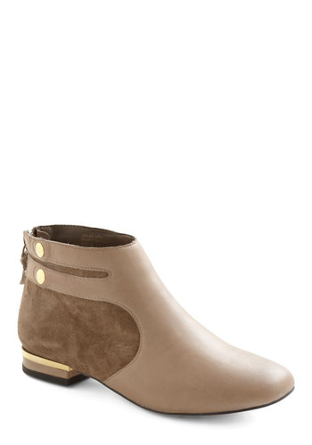 Mulberry Bootie by Seychelles - Tan, Grey, Buttons, Low, Solid, Casual, Urban, Fall, Leather, Suede