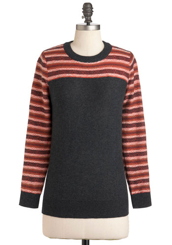 Side by Cider Sweater - Mid-length, Grey, Red, Orange, Long Sleeve, Casual, Scholastic/Collegiate