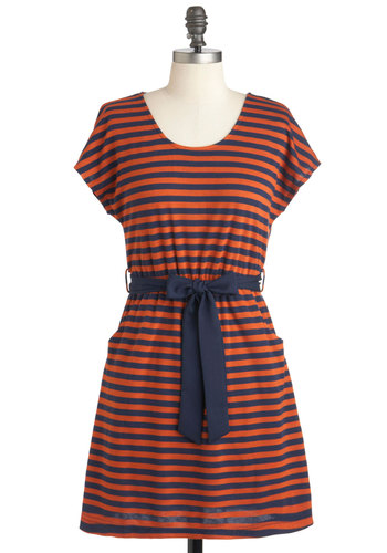 Isle of Palms Dress - Orange, Blue, Stripes, Casual, Nautical, A-line, Short Sleeves, Fall, Short, Pockets, Belted, Travel
