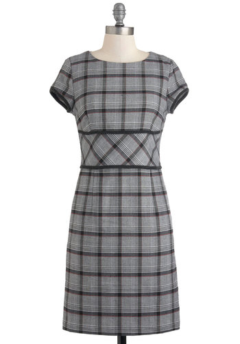 Again and A-Glen Dress - Mid-length, Grey, Black, Plaid, Work, A-line, Cap Sleeves, Fall, Scholastic/Collegiate