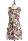 Charcoal Class Dress - Floral, Pleats, Casual, A-line, Sleeveless, Short, Party, Multi, Yellow, Pink, Grey, White