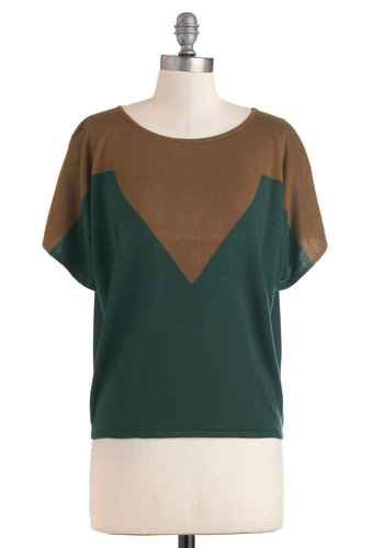 Rock and Rollercoaster Top - Brown, Short Sleeves, Green, Casual, Fall, Short, Jersey