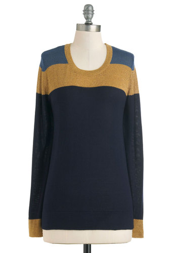 Everyday Excellence Sweater - Mid-length, Blue, Stripes, Long Sleeve, Gold, Casual, Fall, Colorblocking