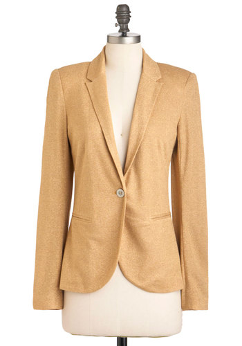 Saturday Ignite Fever Blazer - Yellow, Solid, Buttons, Pockets, Long Sleeve, Party, Work, Casual, Mid-length, Glitter, Girls Night Out, Holiday Party, 1