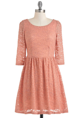 Peach Champagne Dress - Mid-length, Pink, Lace, Party, A-line, 3/4 Sleeve, Vintage Inspired, Pastel, Fit & Flare