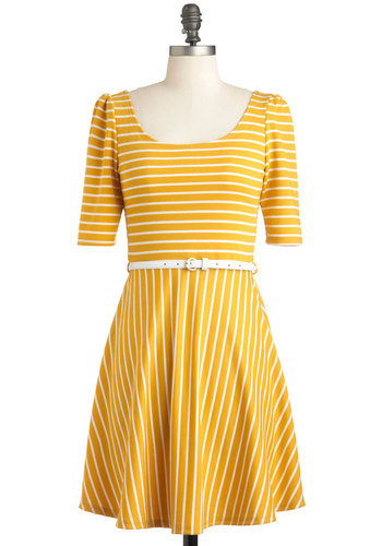 Difference Between White and Saffron Dress - Mid-length, Yellow, White, Stripes, Belted, A-line, Short Sleeves, Summer, Casual, Nautical, Scoop
