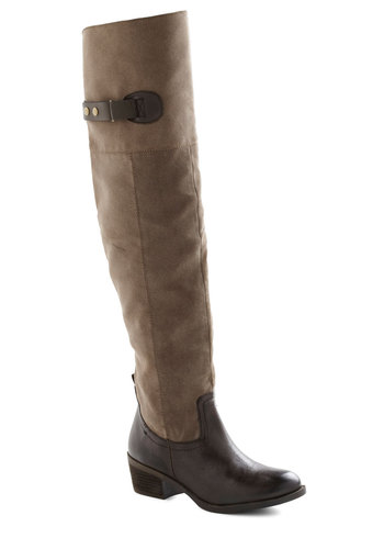 By Your Bootsnaps Boot - Brown, Fall, Jersey, Over the Knee, Mid, Casual, Rustic, Faux Leather, Holiday Sale