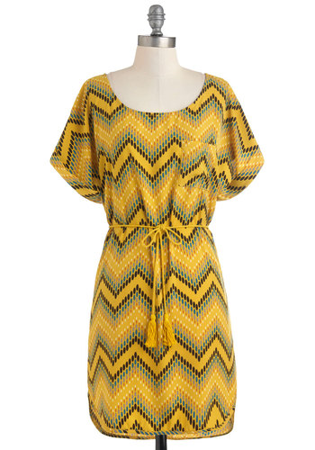 Oval and Above Dress - Mid-length, Yellow, Multi, Print, Pockets, Belted, Casual, Sack, Short Sleeves, Summer, Chevron