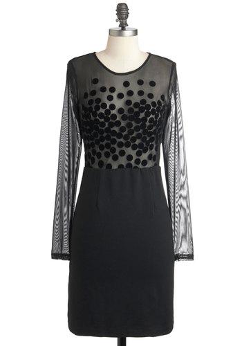 Work of Art Gallery Dress - Mid-length, Black, Party, Girls Night Out, Long Sleeve, Sheer, Shift