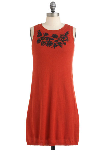 Getaway Back Home Dress - Mid-length, Orange, Black, Embroidery, Party, Casual, Sheath / Shift, Sleeveless, Sweater Dress, Winter