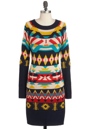 Welcome the Sun Dress - Mid-length, Multi, Red, Yellow, Blue, Grey, White, Print, Casual, Sweater Dress, Long Sleeve, Winter, Fall, Colorblocking