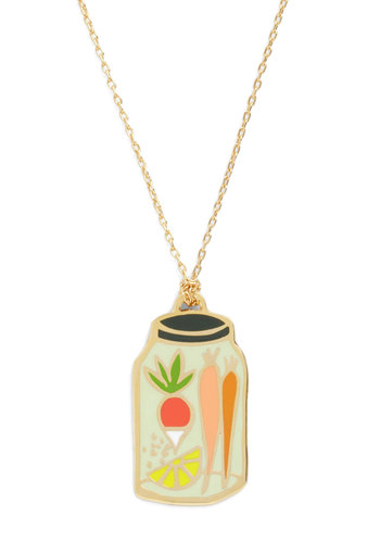 Corked Necklace in Canning Jar - Multi, Gold, Print, Casual