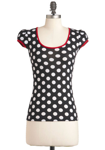 Meet at the Malt Shop Top - Black, Red, White, Polka Dots, Cutout, Casual, Short Sleeves, Mid-length, Scoop, Pinup, Black, Short Sleeve