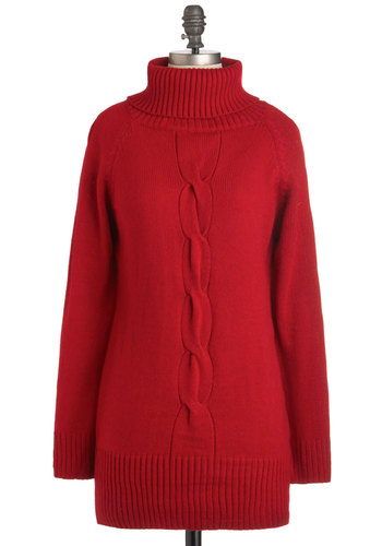 Club Secretary Sweater - Red, Solid, Knitted, Long Sleeve, Long, Casual, 90s, Holiday Sale