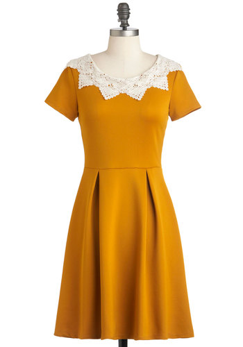 Curry Me Away Dress - Yellow, Tan / Cream, Crochet, Party, Work, Vintage Inspired, A-line, Short Sleeves, Fall, Mid-length, Variation