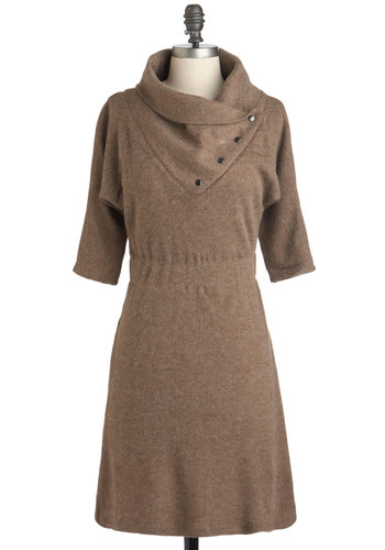 Academy Days Dress in Fawn - Short, Solid, Casual, Sweater Dress, 3/4 Sleeve, Fall, Tan, Scholastic/Collegiate, Minimal, Winter