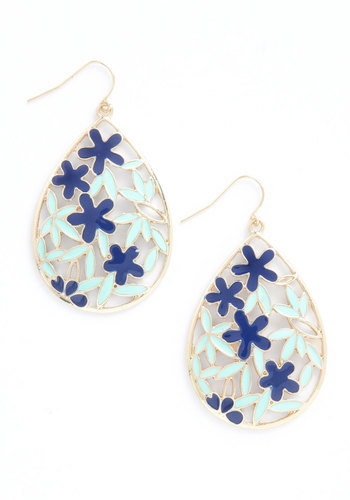 Droplets Dance Earrings - Blue, Gold, Floral, Casual, Statement, Daytime Party