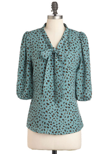 Not On My Splotch Top - Blue, Black, Animal Print, 3/4 Sleeve, Tie Neck, Mid-length, Work, Mint
