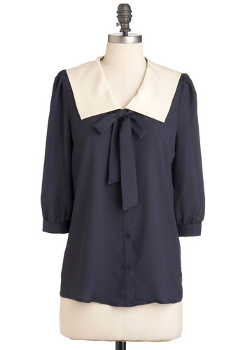 Thesis and That Top - Blue, 3/4 Sleeve, Tie Neck, Mid-length, Buttons, Tan / Cream, Solid, Work, Scholastic/Collegiate, Collared, V Neck