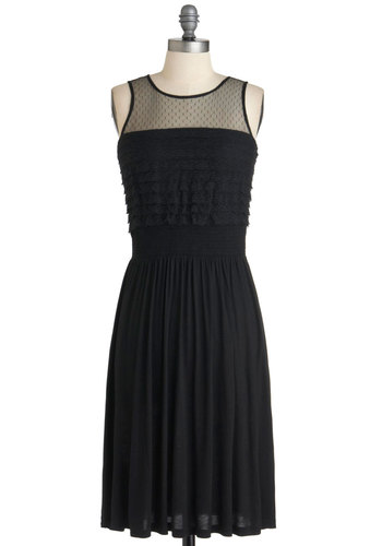 A Bit of Bohemia Dress - Black, Party, Sleeveless, Mid-length, Shift, Vintage Inspired, Cocktail, Sheer, Cotton