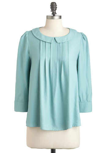 Honeydew It Right Top - Solid, Peter Pan Collar, Long Sleeve, Mid-length, Vintage Inspired, Scholastic/Collegiate, Blue, Pastel, Collared, Mint, Work